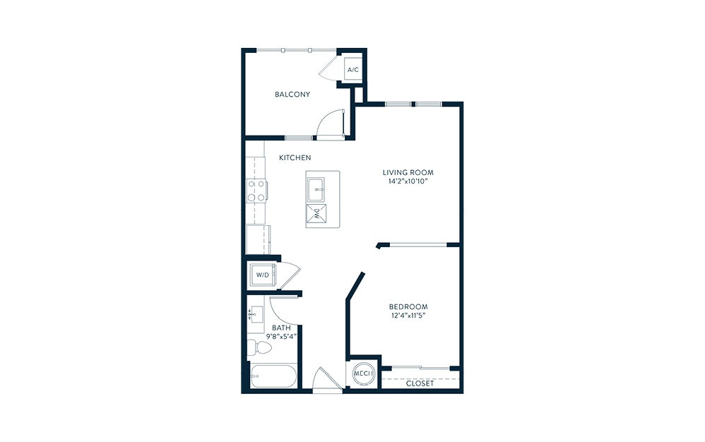 A1 - 1 bedroom floorplan layout with 1 bath and 650 square feet. (2D)
