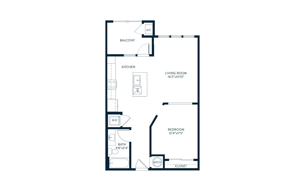 Enfilade - 1 bedroom floorplan layout with 1 bath and 705 square feet. (2D)