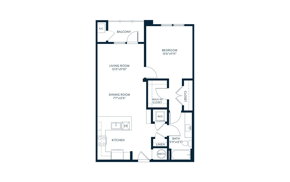 A3 - 1 bedroom floorplan layout with 1 bath and 822 square feet. (2D)
