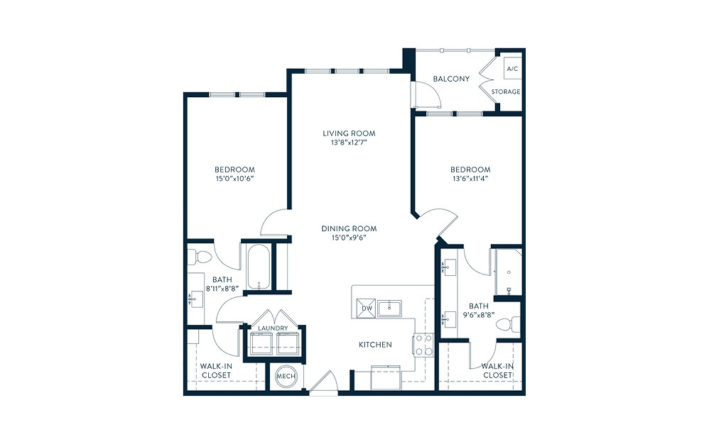 Cupola - 2 bedroom floorplan layout with 2 baths and 1147 square feet. (2D)