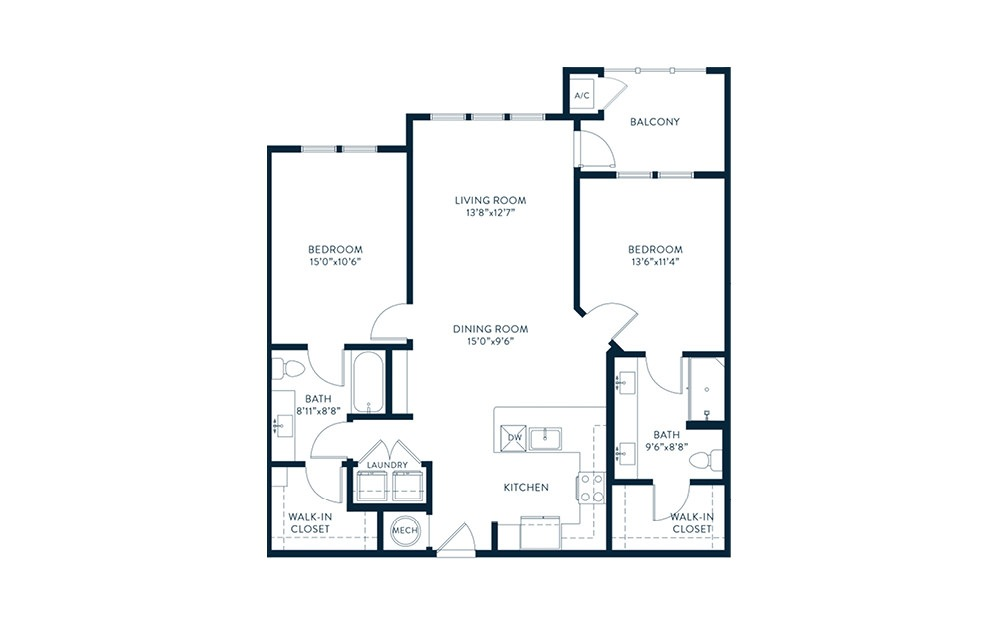 B2-Alt - 2 bedroom floorplan layout with 2 baths and 1147 square feet. (2D)