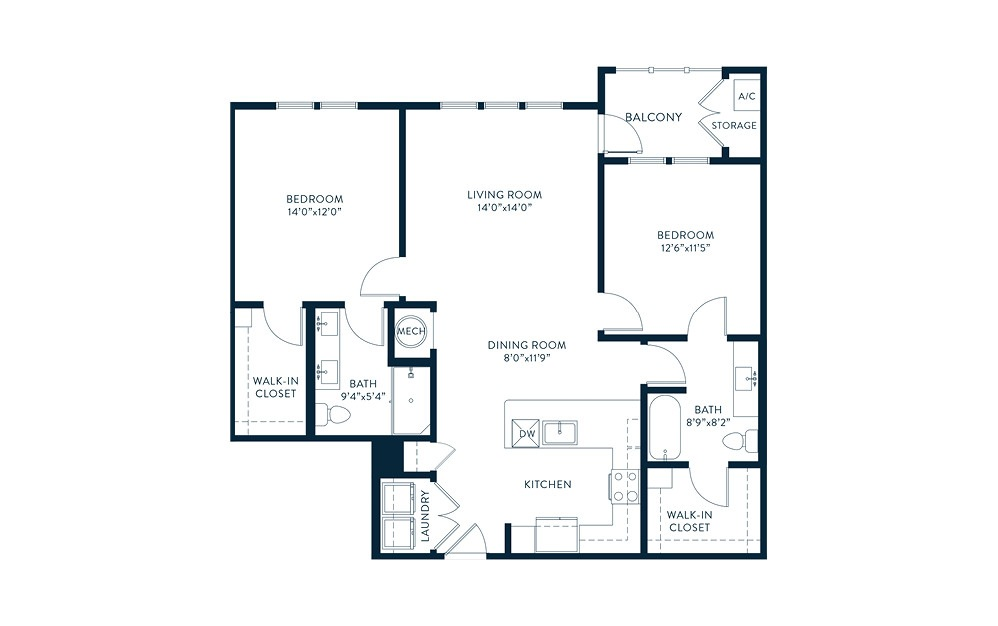 B4 - 2 bedroom floorplan layout with 2 baths and 1148 square feet. (2D)