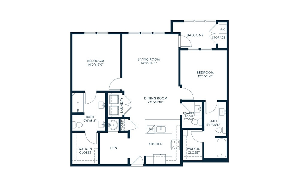 B7 - 2 bedroom floorplan layout with 2.5 baths and 1225 square feet. (2D)