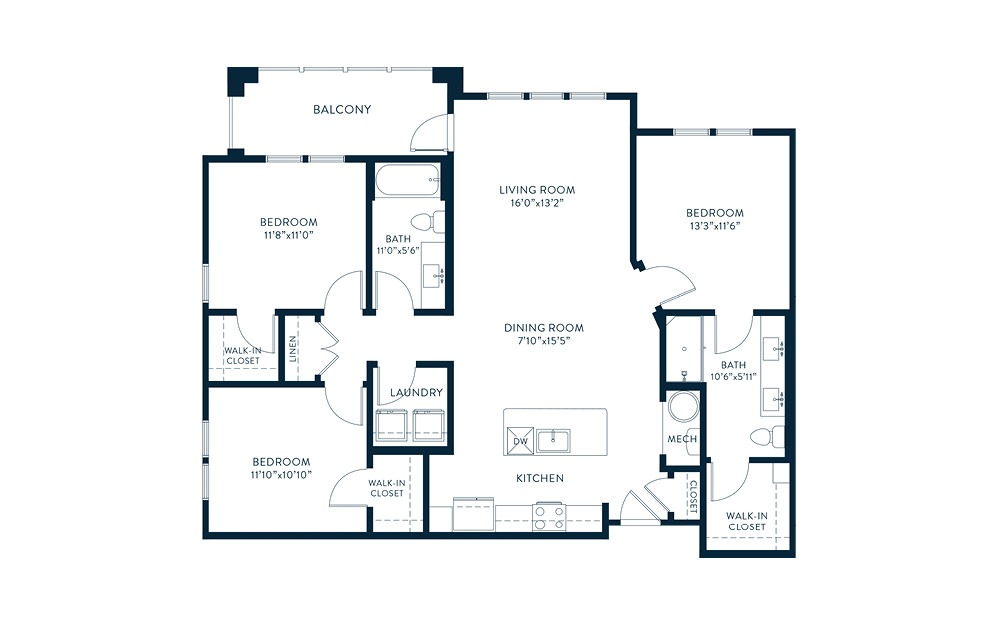 C1 - 3 bedroom floorplan layout with 2 baths and 1337 square feet. (2D)