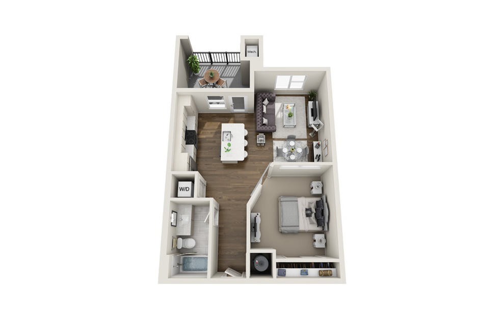 A1 - 1 bedroom floorplan layout with 1 bath and 650 square feet. (3D)