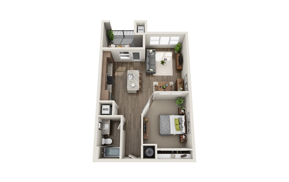 Enfilade - 1 bedroom floorplan layout with 1 bath and 705 square feet. (3D)