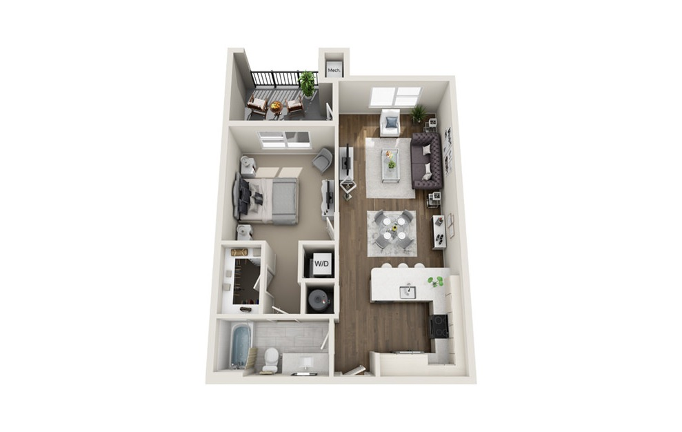 A2 - 1 bedroom floorplan layout with 1 bath and 731 square feet. (3D)