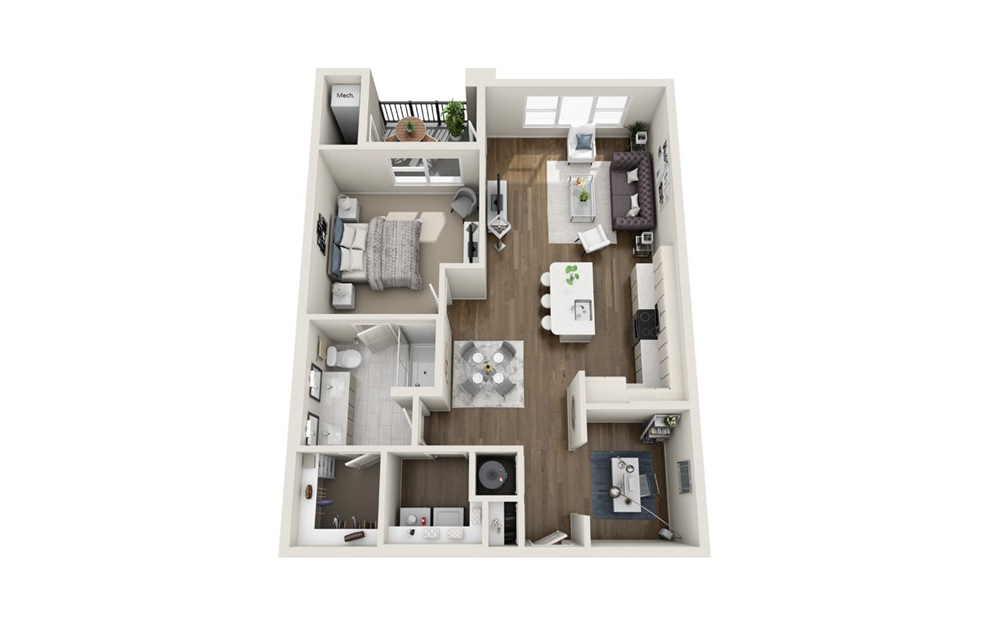 A4D - 1 bedroom floorplan layout with 1 bath and 920 square feet. (3D)