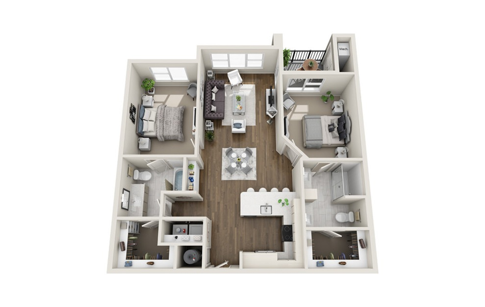 B2 - 2 bedroom floorplan layout with 2 baths and 1147 square feet. (3D)