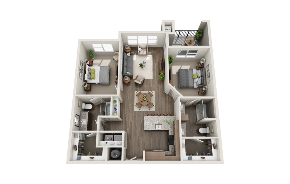 B2-Alt - 2 bedroom floorplan layout with 2 baths and 1147 square feet. (3D)