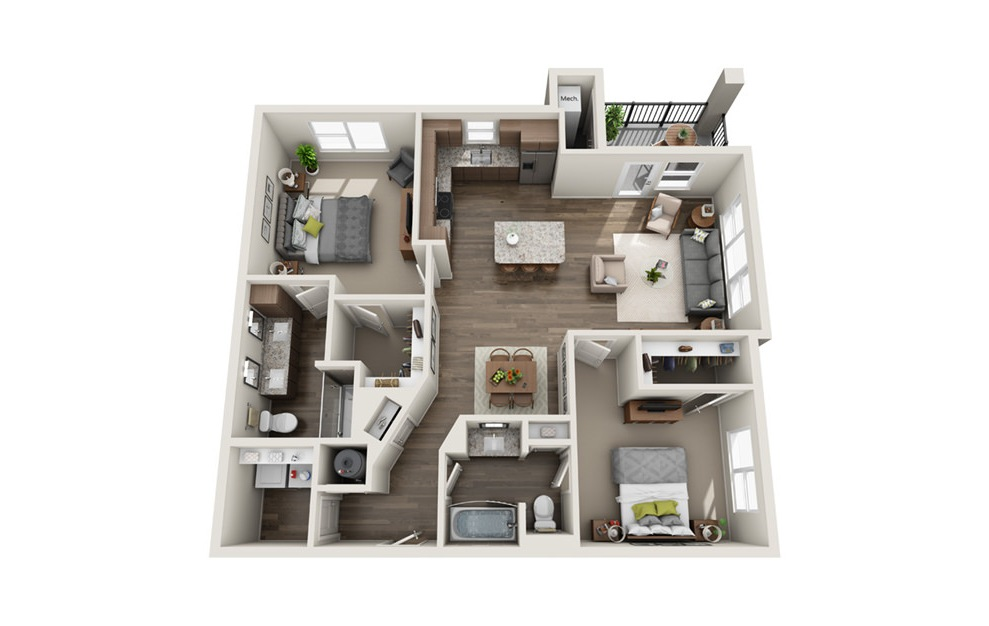 B3 - 2 bedroom floorplan layout with 2 baths and 1187 square feet. (3D)