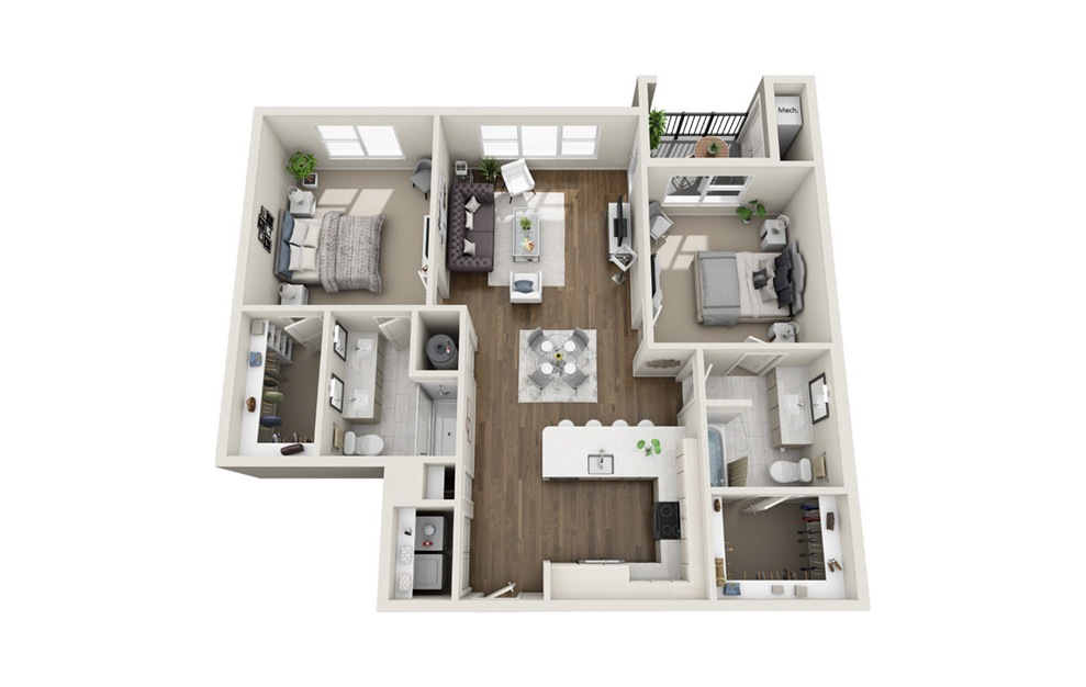 B4 - 2 bedroom floorplan layout with 2 baths and 1148 square feet. (3D)
