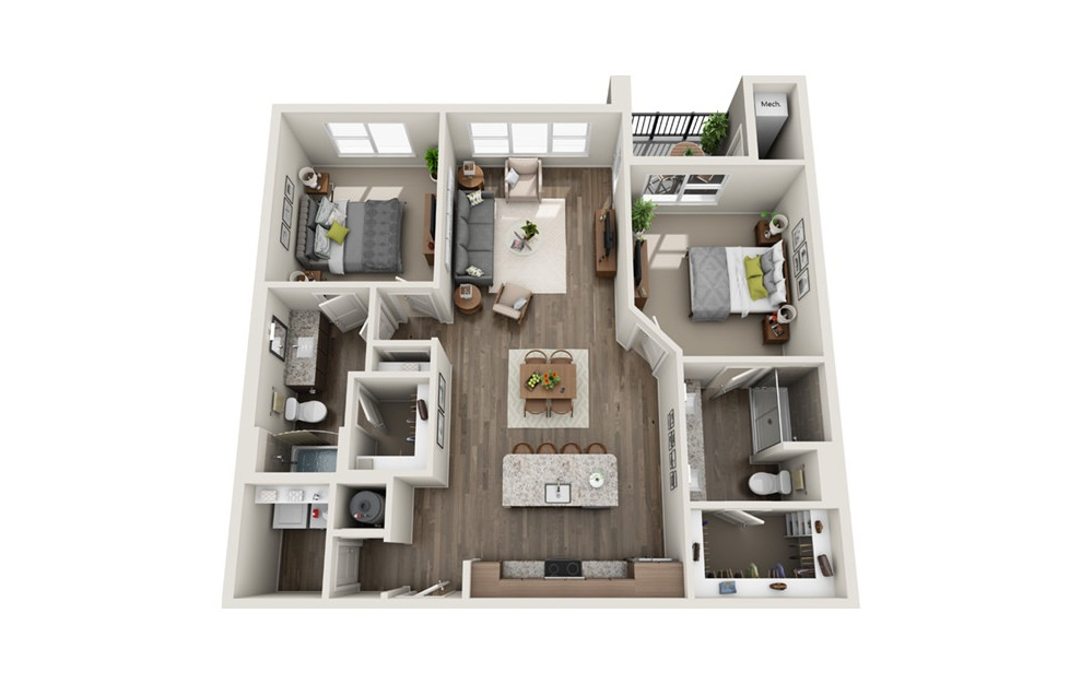 B5 - 2 bedroom floorplan layout with 2 baths and 1169 square feet. (3D)