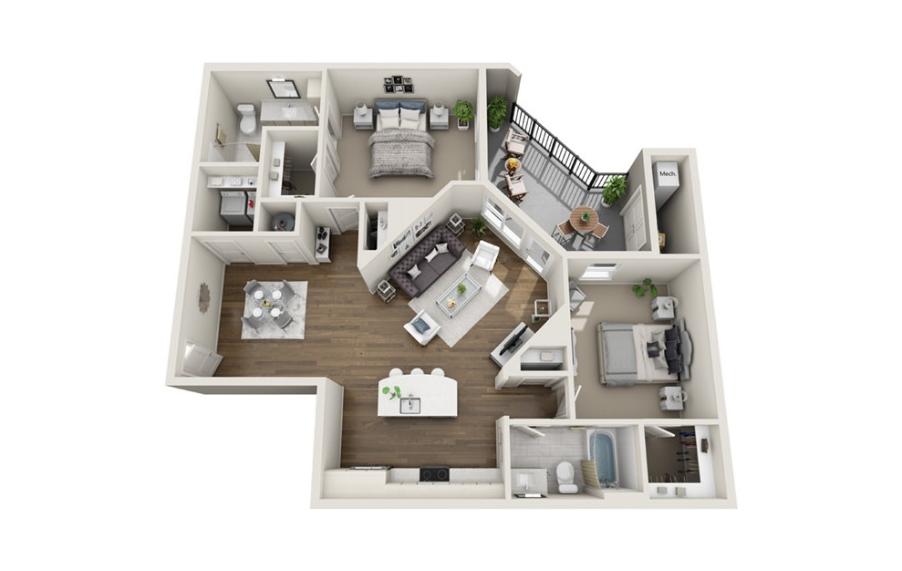 B6 - 2 bedroom floorplan layout with 2 baths and 1198 square feet. (3D)