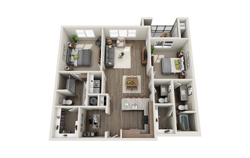 B7 - 2 bedroom floorplan layout with 2.5 baths and 1225 square feet. (3D)