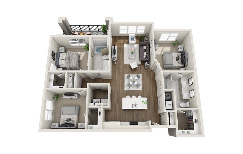 C1 - 3 bedroom floorplan layout with 2 baths and 1337 square feet. (3D)